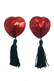 Burlesque Red Heart Sequin Nipple Pasties