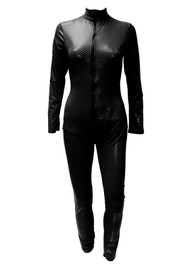 Black Checkered PVC Vinyl Bondage Zip up Zentai Catsuit