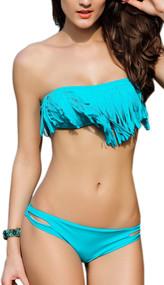 Blue Dana Bandeau Fringed Padded 2 piece Swimsuit