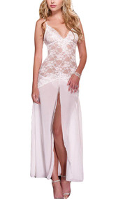 White Elegant Bride Lace and Sheer Chiffon Front Slit Long Night Gown
