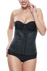 Black Latex Steel Boned Waist Training Corset