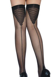 Black Lace-up Back Sheer Seam Cuban Heel Thigh Stockings