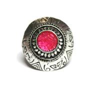 Dimitri's Eye Silver Tone Faux Gem Chunky Boho Ring Pink