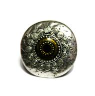 Ordoleth Silver Tone Faux Gem Chunky Boho Ring Olive Green