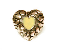 Heartbreaker Gold Tone Heart Acrylic Faux Gem Chunky Vintage Ring - White