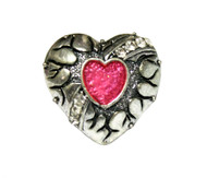 Heartbreaker Silver Tone Heart Acrylic Faux Gem Chunky Vintage Ring - Pink