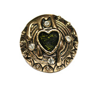 Bloody Heart Gold Tone Heart Acrylic Faux Gem Chunky Vintage Ring - Green