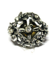 Antique Flower Bouquet Cross Silver Tone Vintage Chunky Ring - Moss Green
