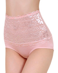 粉色蕾丝网格复古高腰内裤