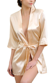 Gold Satin Quarter Sleeves Kimono Robe