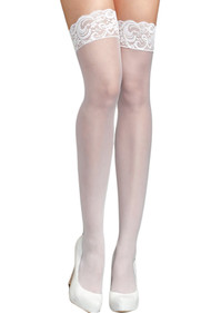 White Floral Wide Lace Top Sheer Stay-up Stockings Silicon - 15 denier
