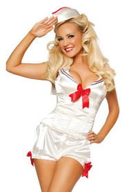 Pin-up Cream Satin Corset  Boyshort Sailor Retro  Costume FAULTY