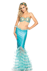 Mystical Mermaid Bra Long Skirt Halloween Costume