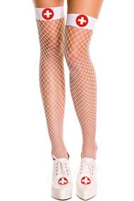 White Nurse Fishnet Thigh High Stockings