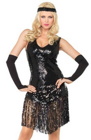 Gatsby Girl 20s Black Sequin Flapper Costume