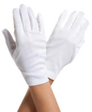白色短的手腕长度缎手套