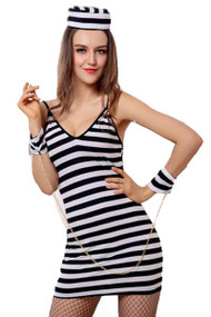 Bad Girl Prison Inmate Jailbird Halloween Costume