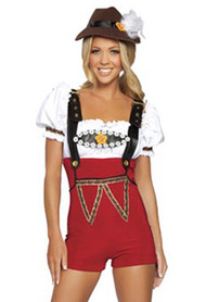 Red High Waisted Romper Shorts Oktoberfest  Beer Maiden Costume