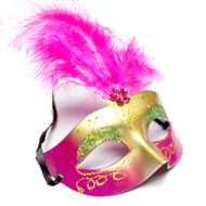 Gold and Fuchsia Pink Venetian Eye Mask with Fuchsia Feathers