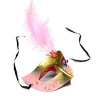 Light Pink Gold Metallic Venetian Glitter Eye Mask with Baby Pink Feathers