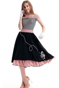 Poodle Sock Hop Rockabilly Retro Fifties Circle Skirt Vintage Pin-up Halloween Costume