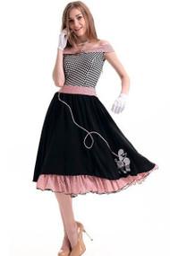 贵宾犬袜子跃点山区乡村摇滚复古五十年代圈裙子老式针向上万圣节服装