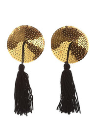 Gold Sequin Black Tassel Reusable Adhesive Burlesque Nipple Pasties