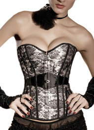 Beige and Black Lace Bustier Corset Plus Size XXL