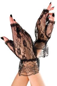 Black Lace Fingerless Short Gloves