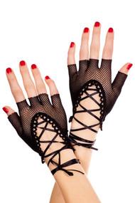 Black Fishnet Lace-up Burlesque Short Gloves