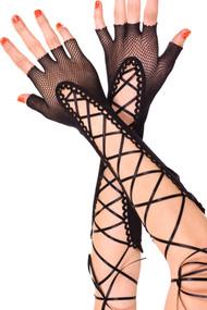 Black Fishnet Fingerless Lace-up Burlesque Long Gloves