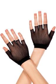 Black Fishnet Fingerless Short Gloves