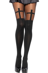 Black and Nude Cross Semi Sheer Faux Thigh high Pantyhose