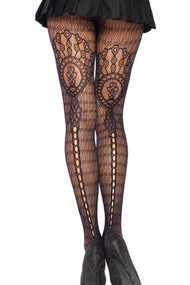 Black Fishnet Plumeria Romantic Lace Seamed Pantyhose