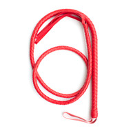 Red Braided Long Leatherette Bull Whip 31 inches