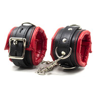 Red and Black Padded PU Leather Chain Buckle Handcuffs