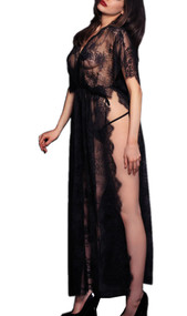 Black Lace See Through Kaftan Long Night Gown Lingerie