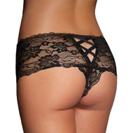 Black Lace Naughty Valentine Thong