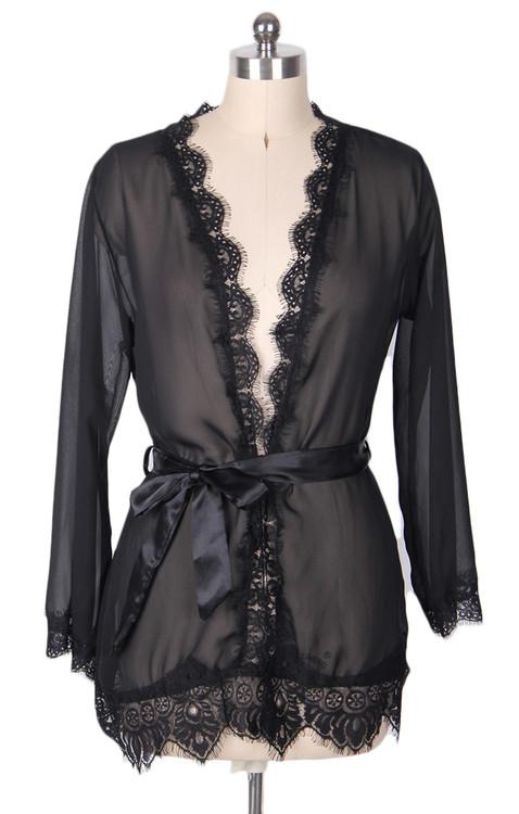 Carol Black Sheer Lace Kimono Lingerie