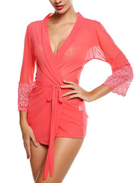 Salmon Pink Chiffon Robe Kimono