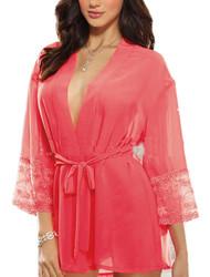 Salmon Pink Chiffon Robe Kimono Plus Size