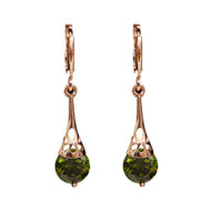 Green Cubic Zirconia Crystal Rose Gold Plated Retro Vintage Earring