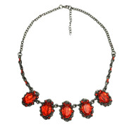 Ruby Red Cubic Zirconia Gun Metal Gothic Vintage Choker Necklace