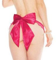 Fuchsia Pink Mesh Satin Oversized Bow Thong Panty Lingerie