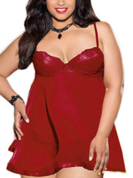 Millie Red Lace Push-up Padded underwire Sheer Flyaway Babydoll PLUS