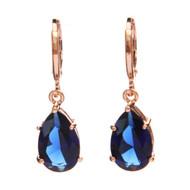 Royal Blue Cubic Zirconia Crystal Rose Gold Plated Retro Vintage Teardrop Earring