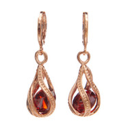 Caged Red Orange Cubic Zirconia Crystal Rose Gold Plated Dangling Earring