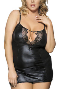 Wild Gal Black Faux Leather and Lace Chemise Plus Size