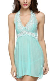 Mint Ada Embroidered Halter Lace Babydoll