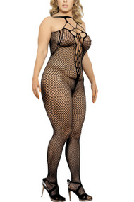 Black Fishnet Strappy Halter Body Stocking Lingerie Plus Size